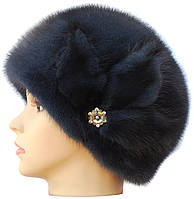 Зимняя шапка норковая,Конфетка цветок (ирис)