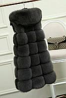 Меховая длинная жилетка с капюшоном имитация лиса