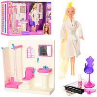 Мебель 68027 (12шт) ванная комната 30-30-10см,кукла29см(дл.вол),крас для вол,аксесс,кор,60-33-11см