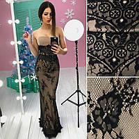 Вечернее платье в пол, без бретелей бежевое  с черным кружевом арт 3191-560