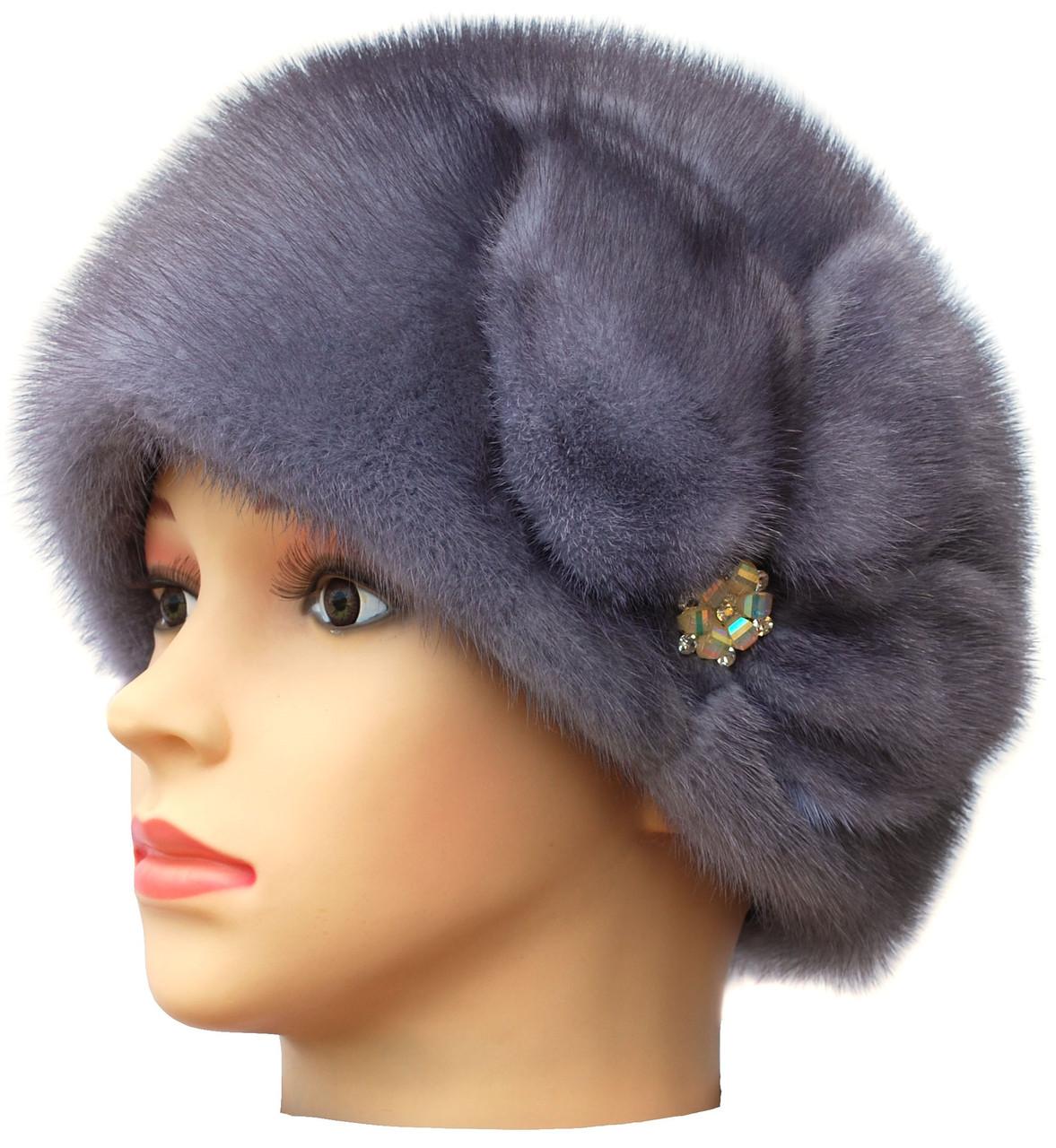 Жіноча хутрова шапка з норки, Мила Квітка (сіро-блакитна)