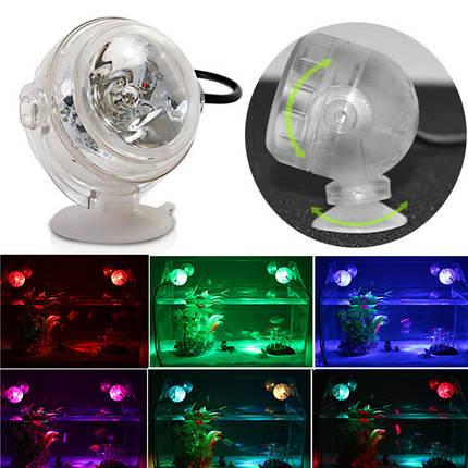 1W LED Красочный погружной резервуар для рыбы Водонепроницаемы Свет для украшения, фото 2