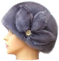 Жіноча хутрова шапка з норки, Мила Квітка (сіро-блакитна), фото 2