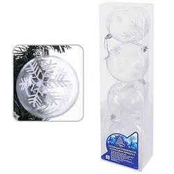 8729 Елочные шарики прозрачные 10см 4шт/кор (36кор)