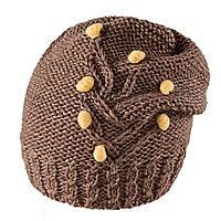 Польская женская шапка- чулок Tree TM Loman, полушерстяная, коричневый цвет