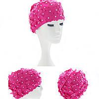 HandmadePearlцветfulPrintedSwimmingCaps Free Размер Цветочный купальный колпачок Защищает уши Волосы