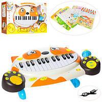Пианино 8710D (12шт) 28клавиш,,микрофон,звуки(англ).звуки животных,USBзарядное,бат,в кор,56-33-10см