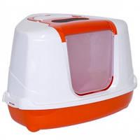 Moderna МОДЕРНА ФЛИП КЭТ УГЛОВОЙ закрытый туалет для кошек , 56Х45Х39 см см., оранж см.