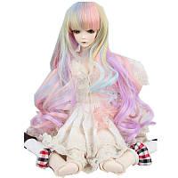 Новый 8-9 '' 22-24 см 1/3 BJD SD Кукла Парик Розовый Ombre Long Curly Волосы Cosplay Парик