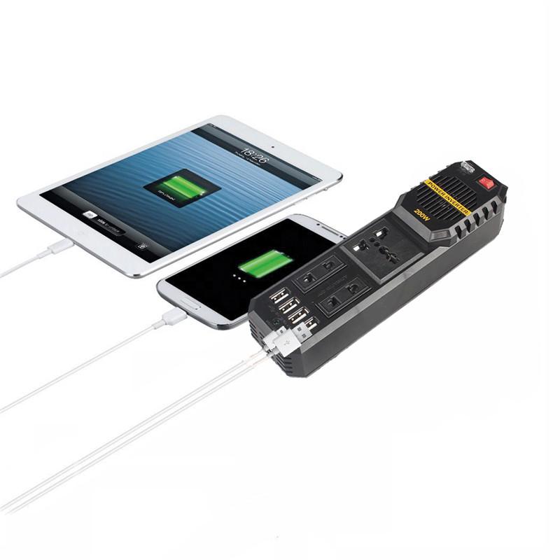 200WАвтоИнверторпитанияDC12V до AC 220V с 4 USB-порт Прикуриватель 1TopShop