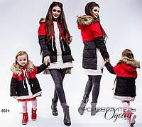 Куртка 2126 трансформер женская R-8324 красный+черный