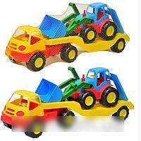 Детская игрушка Трейлер Mochtoys 5338 с трактором
