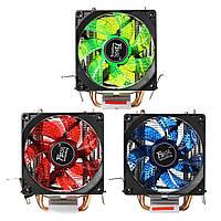 LED Двойная тепловая труба Двойной вентилятор Тихий охладитель процессора Охлаждающий вентилятор радиатора для LGA 1155 775 1156 AMD