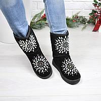 Угги женские Узор черные 3939, зимняя обувь