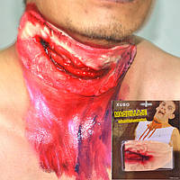 Хэллоуин реквизит Slit Throat Cut Шея Fake Wound Scar Head Травма Trick Halloween Decoration Party Decor