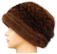 Меховая норковая шапка женская,Кубанка резаный узор (орех)