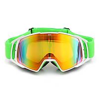 Мотоцикл Гоночные лыжные очки Защита Uv Анти Туманная зеленая рамка