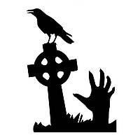 Hallowen Grave Череп Ручная витрина Стеклянные окна Декор стены Стикер Партийный дом Домашнее украшение Творческая декларация DIY Настенная наст