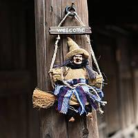 Halloween Witch Hanging Welcome Sign Подвеска для вечеринок для вечеринок, популярных для ткани Witch In Swing Decoration