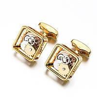 Запонки Bow Tie House с открытым механизмом часов золотистые 09882