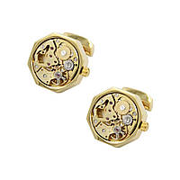 Запонки Bow Tie House с механизмом часов золотистые - шестигранные 09881