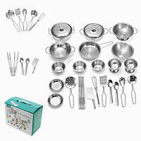 ENPEI 25 штук Нержавеющая Кухонная посуда Набор Набор для кухонной плиты Детские игрушки Ролевые игры Игрушечный подарок