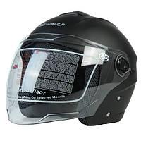 Мотоцикл Открытый шлем для лица W/Двойной козырек Мотокросс Велоспорт Скутер 54-59см Мэтт Черный Красный Белый