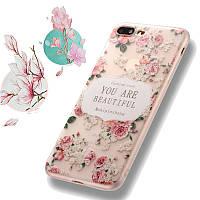 Bakeey™3DReliefМатоваяпечать Свежий цветок Силиконовый Мягкий ТПУ Чехол для iPhone 7Plus 5.5 дюймов