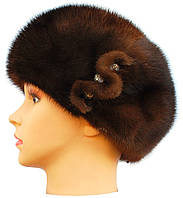 Зимняя шапка-берет норковая,Москва (орех)