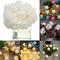 Батарея Powered 1M 9LEDs Теплый белый декоративный декор для спальни Свадебное Розовый цветок Фея Свет струны