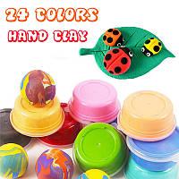 24 Яркие цвета Картон установлен Супер свет Рука Клей Тонкий Обучающие игрушки
