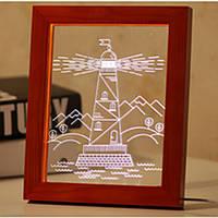 KCASA FL-733 3D-фоторамка Иллюминативный LED Ночной свет Деревянный сторожевой настольный компьютер Декоративный USB Лампа для декора интерьера сп