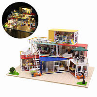 Hoomeda 13843Z Container Home With Music Cover Light DIY Dollhouse Набор 3D Японский стиль