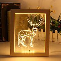KCASA FL-722 3D-фоторамка Иллюминатор LED Ночной свет Деревянный лоток для рабочего стола Декоративный USB Лампа для декора интерьера спальни Рожде