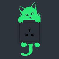 Кот Творческий светящийся переключатель наклейки Съемный свет в темной наклейке стены Домашний декор
