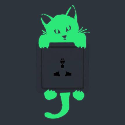 Кот Творческий светящийся переключатель наклейки Съемный свет в темной наклейке стены Домашний декор, фото 2