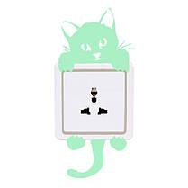 Кот Творческий светящийся переключатель наклейки Съемный свет в темной наклейке стены Домашний декор, фото 3