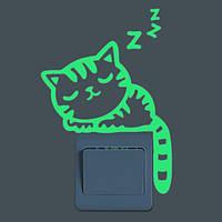 Спящий Кот Творческий светящийся переключатель наклейки Съемный свет в темной наклейке