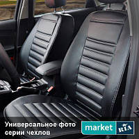Чехлы для Peugeot 307, Черный цвет, Экокожа