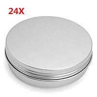 24 штук 100G Алюминиевый круглый пустой Банка Олово Болт Верхняя крышка Косметический контейнер для хранения проб