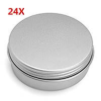 24Pcs 25G Алюминиевый круглый пустой Банка Олово Болт Верхняя крышка Косметический контейнер для хранения проб