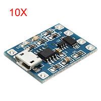 10Pcs Micro USB TP4056 Модуль защиты от заряда и разряда от перегрузки по току Защита от перенапряжения 18650