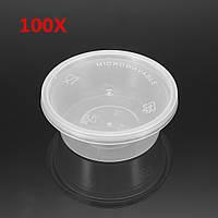 100 штук 50 мл Очистить одноразовые пластиковые соевые соевые приправы Чашки вынимают контейнер с крышкой