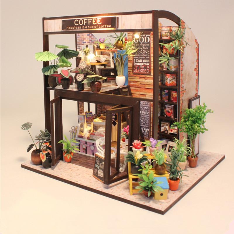 Hoomeda M027 Coffee House DIY Кукольный дом с музыкой Мотор Обложка Light Miniature Model Toy Gift - ➊TopShop ➠ Товары из Китая с бесплатной доставкой в Украину! в Днепре