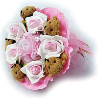 Букет из мягких игрушек Мишки 5 в розовом