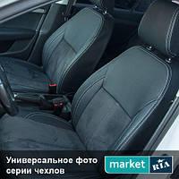 Чехлы для Opel Vectra, Черный + Черный цвет, Экокожа + Алькантара