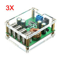 3Pcs DC-DC Step Down Модуль Большой преобразователь мощности с 4 интерфейсами USB Вход 7V-60V 5V / 5A Выход Автоматическая быстрая идентификация