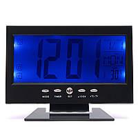 LCD Цифровой стол Часы + Календарный звуковой сигнал температуры Датчик Светлый черный