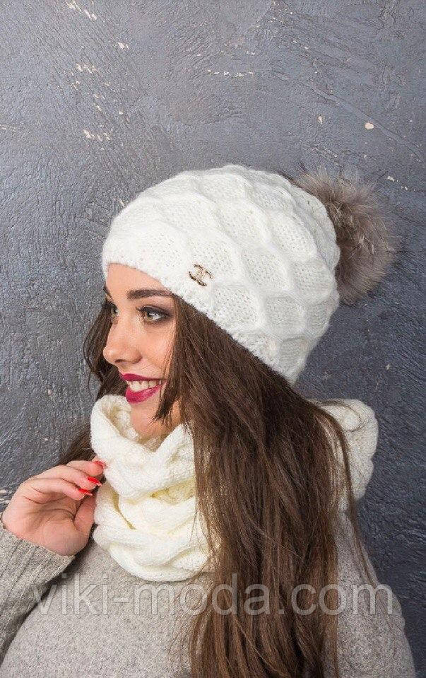 Зимний женский набор с натуральным помпоном-енот