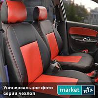 Чехлы для Renault Koleos, Черный + Красный цвет, Экокожа